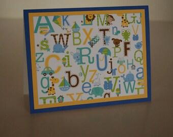 Baby Boy Card-  Alphabet Icons