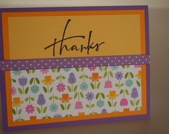 Thank You Card-  Thanks w/ Spring Flowers