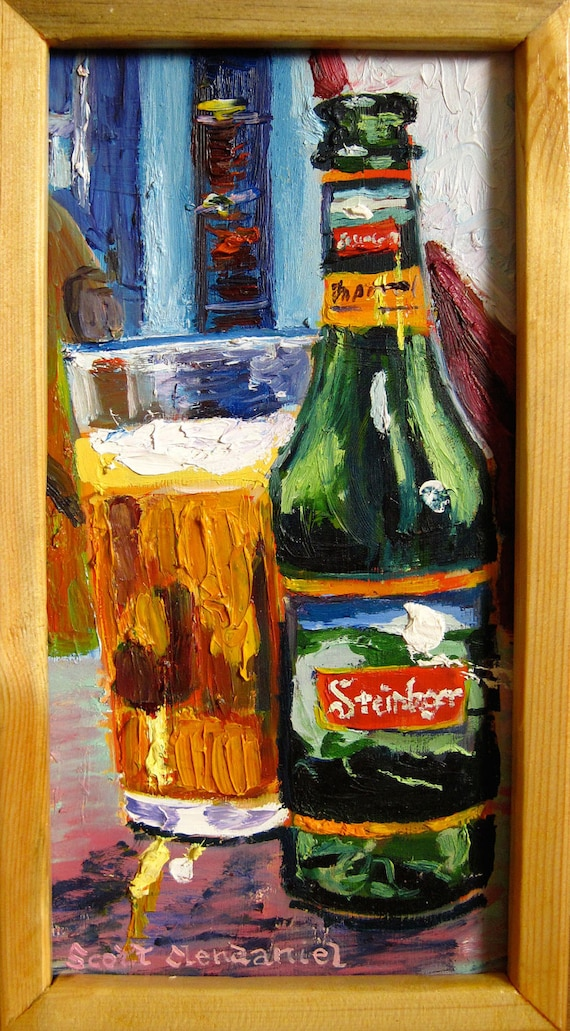 Man Cave Gifts New Zealand : Beer painting of steinlager from new zealand man cave art