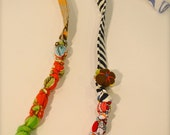 patchwork fabric necklace with pin