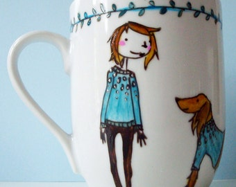Hand Painted Personalised mug, perfect for Valentines and birthday presents