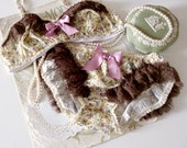 Raspberry Truffle Bra & Ruffle Bloomer Panties Set in Polka Dots and Floral Made to Order