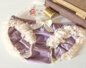 Lavender Sugar Polka Dots & Lace Ruffle Bloomers