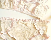 Pretty Petals Satin & Lace Soft Bra and Panties Set Made to Order