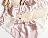 Feminine Satin Bra and Panties Set in Ballet Pink Satin Handmade to Order