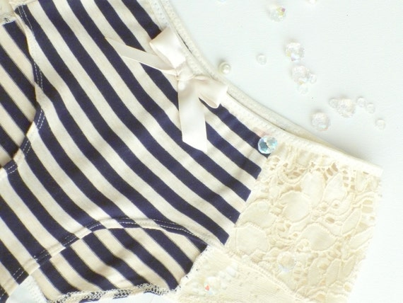 Bon Voyage Navy Stripes & Ivory Lace Cheeky Panties Made to Order