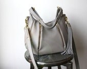 Gray Leather Purse - OPELLE Baby Ballet Bag with Zipper Pocket in Dove Pebbled Leather