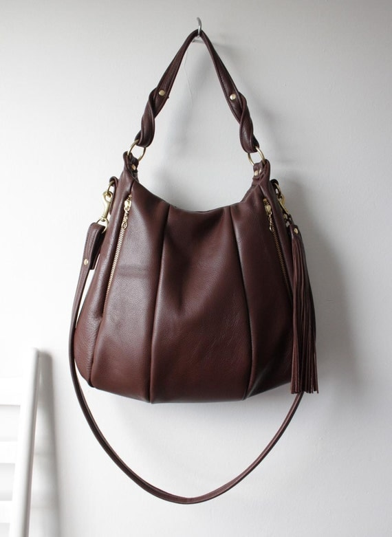 Brown Leather Bag - OPELLE Lotus Bag - Soft  Pebbled Leather with Zip Pockets in Mahogany - Made to Order