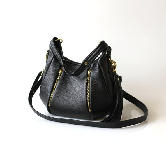 Black Leather Purse - OPELLE Baby Ballet Bag with Zipper Pocket - Made to Order