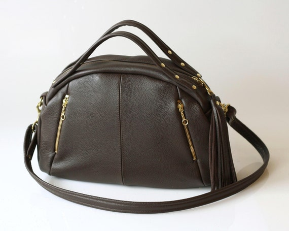 Leather bag purse OPELLE Baby Botanist Bag - Italian Pebbled Leather in Woodland