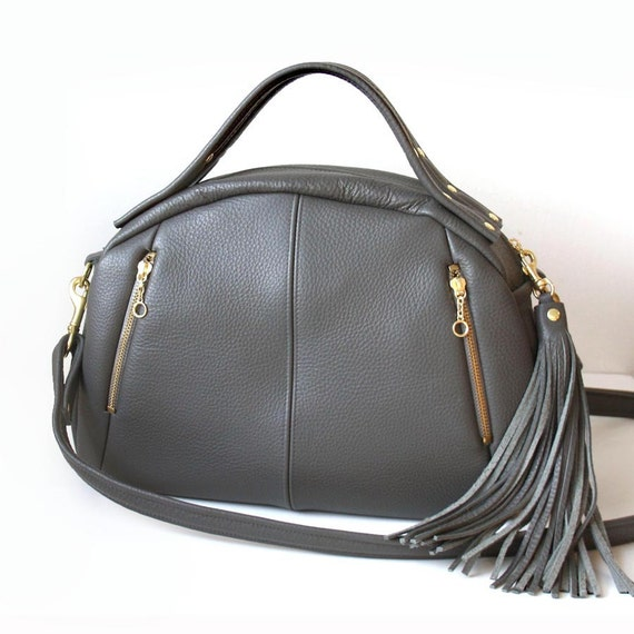 Gray Leather Handbag - OPELLE Baby Botanist Bag - soft Pebbled Leather purse in Smoke