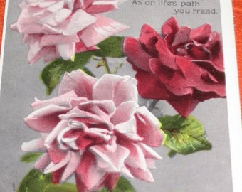 Vintage British Tuck's Birthday Greetings Postcard Roses