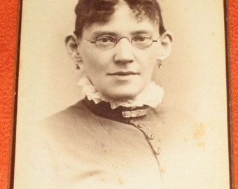 Vintage Antique Cabinet Card of Stern Looking Woman Mary Rogers With Glasses Brunswick, ME