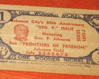 Vintage Wooden Nickel Wooden Certificate Johnson City, NY 1952