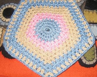 Vintage Crocheted Pot Holder Pink Blue and Beige