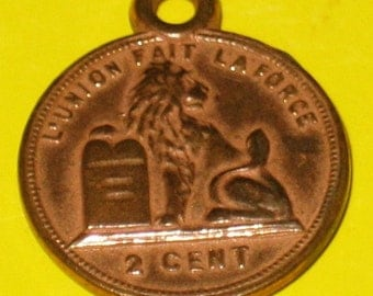 Vintage Two Cent Metal Charm