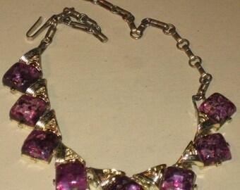 Vintage 1960s Metal and Purple Plastic Necklace