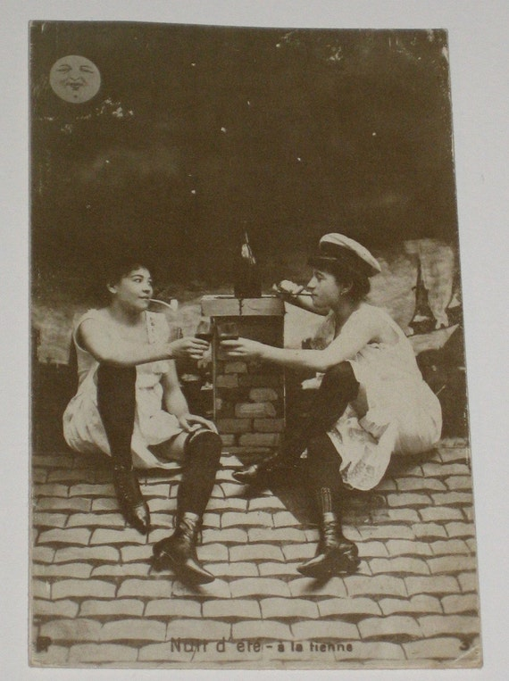 Vintage French Postcard Two Women on a Rooftop Smoking Pipes and Drinking Wine