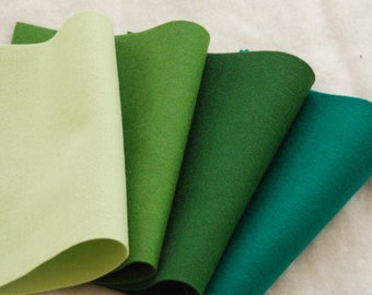 WOOL FELT GREEN  - 100% Pure organic Wool Felt 20 x 30cm
