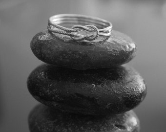 LOVE me KNOT RING with message and modern design. Handcrafted solid sterling silver 925 from symbol collection. Unisex. Ready to ship.