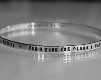 Round PERSONALIZED (100 text/numbers) hand stamped inside/outside on solid sterling silver bangle bracelet. Made to order WORDs of LOVE gift