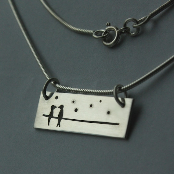 LOVE BIRDS. Original necklace handmade from solid silver.