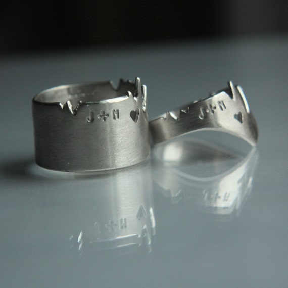 Two HEARTs ONE BEAT. Personalized cardiogram rings set or one big stacking ring. White mat satin silver finish. 2 hearts 1 beat. VICTORONA