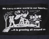 Patch - A New World In Our Hearts Growing All Around Us - large patch, back patch, farm garden scene, durruti anarchist, punk patch, black