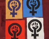 Feminist Patch - Choose Color - Back Patch - Feminist Fist, Large Bag Patch, feminism patches riot grrrl yellow blue purple punk patch