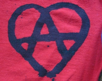 Anarchy Heart Patch, black on red - anarchy patch, punk patch, anarchist patches, anarchy heart symbol, anarchy heart, love, solidarity