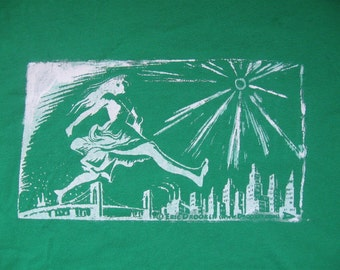 Woman Smashes the City, Silkscreened Green T shirt, Medium