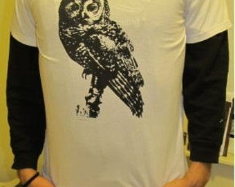 Owl Shirt - Spotted Owl, T Shirt, Large White - bird of prey, raptor, cute hoot, ancient forest, earth first, nature, forest, punk, science