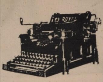 Typewriter Patch - Black on White Canvas - vintage classic royal keyboard advertisement nostalgia retro punk patches type writer
