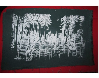 Patch, Forest Wins - Large Back Patch - eco, patches, punk patch, original art, anarchy, anarchist patches, occupy resist -  White on Green