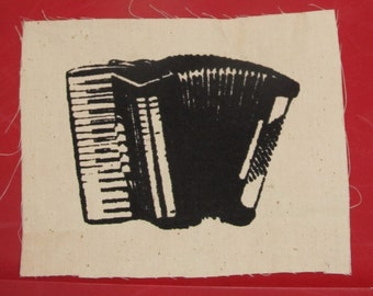 Accordion Patch - Choose White on Green OR Black on White - music punk patches, accordian, busk, instrument, music, keyboard, steampunk
