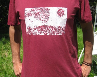 red on earth as it is in heaven v neck t shirt, large