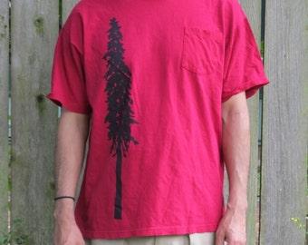 Giant Douglas Fir Tree Print, Bright Pink Large Pocket T Shirt - screenprint
