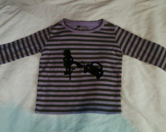 Child Size, My Bike Will Smash Your Car, Lavender & Green Stripe Long Sleeve Shirt, Toddler Size 12-18 Months