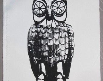 Bubo the Golden Steampunk Animatronic Owl - Large Bag or Back Patch - Black on White Silkscreen Screenprint