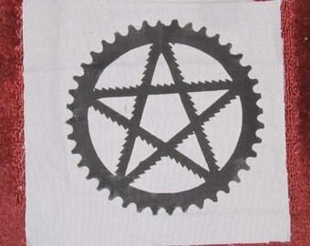Back Patch - Pentagram, of Bike Parts, with Saw Blades and Bike Sprocket - Large for Back or Bag, Black on Grey Canvas