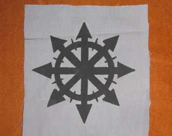 Chaos Back Patch - Black Ink on Grey Fabric - Large for Back or Bag, Silkscreen Screen Print Symbol Image anarchy punk patch