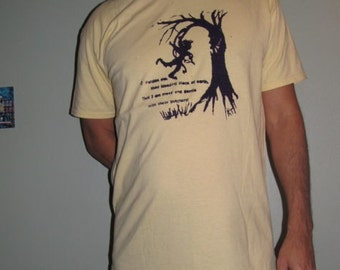 Tree T Shirt - pardon me, thou bleeding piece of earth, that I am meek and gentle w/ these butchers, Large, Light Yellow, Shakespeare Quote