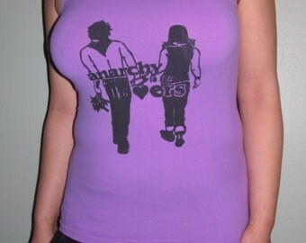 Anarchy is for Lovers, Medium, Black on Light Purple Fitted Tank Top Shirt - lavender, punk, with screenprint print