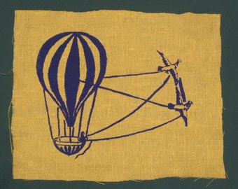 Patch - Bird Powered Hot Air Balloon - Yellow Steampunk Patch - punk patch, airship, flying craft vintage image, victorian, old german print