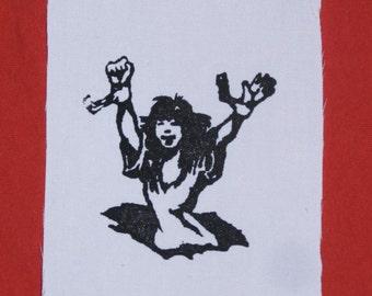 Punk Patch - Break The Chains, Black on White - prison break punk patches comic print feminist woman activist riot grrrl power girl feminism