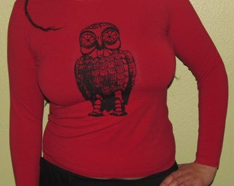 Bubo the Steampunk Animatronic Owl. Black on Red & Fitted Long Sleeve T Shirt, Large - screenprint image, silkscreen print, hoot, robot