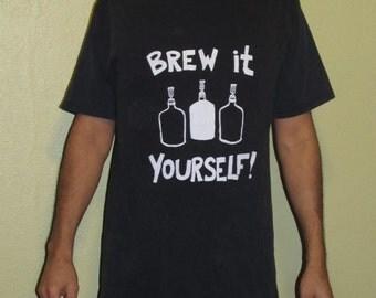 Beer Shirt - Brew It Yourself - Large, Black Screenprint T Shirt - homebrew tshirt, original print, brew, unisex, women, men, ferment