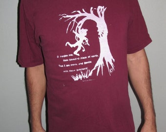 Angry Ent Tree T Shirt - pardon me, thou bleeding piece of earth, that I am gentle w/ these butchers, XL Maroon Red TShirt - extra large