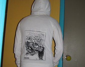 Hoodie - Unless...  Lorax Theme Forest Clearcut Print, Small, White - black, punk, dr. seuss screenprint, environmental, sweatshirt hoody