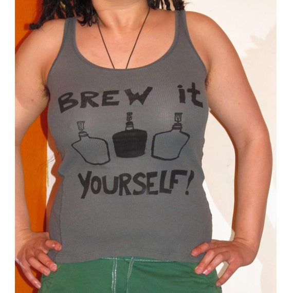 Brew It Yourself - Medium Green Grey Tank Top, with Screenprint Image of Brewing and Fermenting Carboys